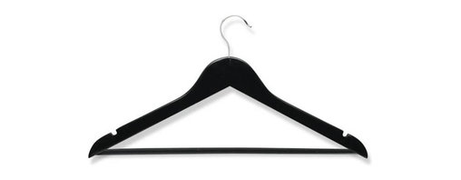Honey Can Do - Wood Suit Hangers Ebony - Pack of 4 - Streamlined shape. Keeps clothing looking freshly pressed. 360 degree swivel rod hook. Premium wood. Heavy-duty construction. 17.5 in. L x 0.5 in. W x 9.5 in. H (1 lbs.)Honey-Can-Do HNG-01525 4-Pack Wooden Suit Hanger, Ebony. Beautiful, wooden clothes hanger is contoured to keep shirts, dresses, jackets, and pants perfectly wrinkle-free. The non-slip bar holds pants and skirts securely in place, while notches on top keep garments with shoulder straps hanging neatly in position. Features a chrome, 360 degree swivel rod hook to hang items easily on any closet rod, towel bar, or standard size door. A gorgeous upgrade to any closet.