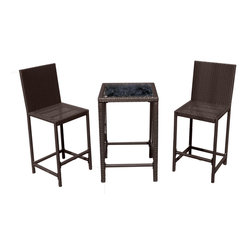 AZ Patio Heaters - Bar Height Bistro Set - Dark Brown - Indoor/Outdoor Resin Wicker Bistro Set.