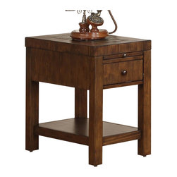 Riverside Furniture - Riverside Furniture Belize Chairside Table in Old World Distressed Pine - Riverside Furniture - End Tables - 1712 - The Arkansas River Valley is home of majestic forests, ruggedly beautiful mountains, gurgling brooks and swiftly flowing rivers. It is also the home of Riverside Furniture Corporation. But like they would with any old friend, most folks refer to us just by our first name.