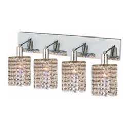 Lighting By Pecaso - Wiatt Wall Fixture Oblong Canopy D26x5 H13.5 Round Pendant Lt:4 Chrome Finish - Extension 6, ChainWire Incuded  NA, Bulb Type GU10, Bulb Wattage 50, Max Wattage 200, Voltage 110V125V, Finish Chrome, UL  Ulc Standard  YES, UL  Ulc Standard  YES
