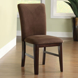 Hokku Designs - Montclaire Parsons Chair (Set of 2) - Framework for fabulousness. Beautiful parson-style dining chair looks great against any table sizes and style. Features: -Material: Solid wood, wood veneer and leatherette.-Contemporary style.-Generously padded profile seat and back cushion.-Gently curved back cushion.-Comes with corner block provide structural integrity.-Distressed: No.Dimensions: -Overall Product Weight: 44 lbs.