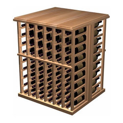Designer Series Wine Racks - Enhance the look and mood of your wine cellar with functional working space and extra bottle wine storage. Tasting Tables create the perfect spot for decanting wine and taking inventory of your collection. This wooden wine tasting table is 6 columns wide x 9 rows high and is 2 deep for a total of 108 bottles. Product requires assembly. Please note: base trim molding is included with the purchase price.