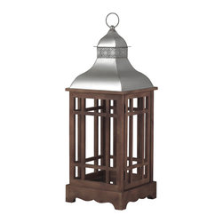 Sterling Industries - Poynton Lantern in Natural Wood Tone with Stainless Steel - Enjoy the best of outdoor living and create the perfect ambiance with poynton outdoor lantern (large) by Sterling. Lantern is beautifully crafted in a natural wood tone with aluminum top. A sure-footed design for secured positioning plus an open hutch and vented top helps the air to circulate allowing a placed candle's fragrance to permeate the space. This large outdoor lantern creates a striking visual impact indoors or out. Generously sized at 12 inches wide and 33 inches high.