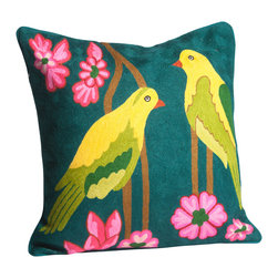 Abigails - Crewel Embroidery Pillow with Pair of Green Birds - A hand embroidered pillow featuring a pair of tropical birds.  This design is traditional crewel work done on heavy linen backing with a hidden zipper.  A vacuum packed polyfoam pillow form insert is included.