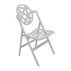 None - Typhoon Grey Folding Chairs (Set of 2) - Add some elegance to your home with these sturdy folding dining chairs. Constructed from UV-protected polymer, these chairs can be used outdoors and indoors. They are fitted with a flexible hinge function that enables easy storage when not in use.