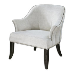 "Uttermost - Leisa White Armchair - Sport the easy-breezy look of linen in your home with this sophisticated armchair. Whether it's shirts, slacks or sheets, linen has a way of conveying relaxed style — and now you can add ""seating areas"" to that list."