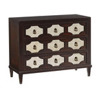 Lexington - Lexington Kensington Place Winslow Mirrored Hall Chest - An elegant statement for any space, this three drawer chest features decorative fretwork over antique mirror. Custom designed hardware pulls in an antique brass finish adorn each drawer.