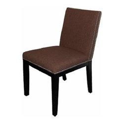 ARTeFAC - RV-2368 Double Row Silver Nail Head Fabric Dining Chair, Brown - RV-2368 Double Row Silver Nail Head Fabric Dining Chair