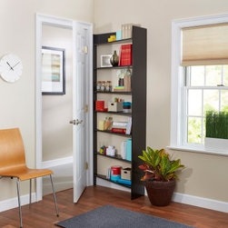 Foremost Heidi Bookshelf - Black - Turn the space behind any door in your home into a handy storage area with the Foremost Heidi Bookshelf - Black. This bookshelf is designed to fit behind any door, whether right- or left-hung; just flip it on its other end to switch. It comes with drywall anchors and screws for mounting to your wall, and has a relief cutout for base molding and spacer pieces for shoe molding.About Foremost Groups Inc.Established in 1988 based on simple strategies and principles, Foremost remains dedicated to their mission of providing fashionable, innovative designs and knowledgeable, friendly customer service to their customers on a daily basis. Throughout the years, Foremost has developed offices and distribution centers in the U.S. and Canada with four separate product divisions consisting of bathroom furniture, indoor and outdoor furniture, and even food service equipment. All of their products are proudly constructed with world class engineering and the best designs at an affordable price.