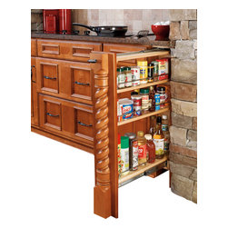 "Rev-A-Shelf - Rev-A-Shelf 432-BF-6C 6"" Wood Base Cabinet Pullout Filler w/ Adjustable Shelves - This is one of the more interesting types of shelf space designed for use in the kitchen. Many kitchens end up with, or can be purposely designed to take advantage of small spaces between cabinets. The base cabinet filler is actually an easy access narrow pullout system with three adjustable shelves. The seemingly narrow shelves with chrome rails actually hold quite a number of items, making it perfect for storing a wide variety of bottles, small boxes and the like for utilizing space that is otherwise not being used. The Rev-A-Shelf 432-BF-6C 6"" Pull-Out Base Filler meets a need that many home owners never dreamed they had. The simple design, variable sizes and high quality materials make this one of the best ideas we've seen in a long time. Physical specifications: 6"" W x 23"" D x 30"" H. Note: Fillers can only be installed with new cabinet construction."