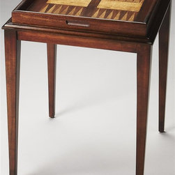 Butler - Game Table in Light Cherry - Made from poplar wood solids, MDF, cherry, maple and walnut veneers. 21 in. W x 14 in. D x 28 in. H (19 lbs.)