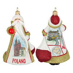 Frontgate - Glitterazzi International Poland Santa Ornament - Each ornament takes up to 7 days to produce. Constructed of 100% European-made glass. Arrives in a handsome black lacquered box for gifting and safekeeping. Hanger is included for easy display. Our collectible Glitterazzi International Ornament from Joy to the World was created with the utmost attention to quality and detail. The finest artisans in Poland individually mouth blow and hand paint each ornament, achieving new levels of innovation and artistic integrity in their designs. Using only traditional old world production methods and materials sourced from European countries, they ensure that each ornament is an impressive work of art that will be treasured for generations. . . . . Made in Poland.