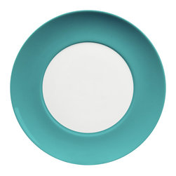 Waechtersbach - Uno Dinner Plates, Azur, Set of 4 - Go bold on your table with a set of four porcelain banded dinner plates. The colors look great when mixed and matched with other patterns, and you can't go wrong with the classic combination on its own. It's a timeless look that complements every meal.