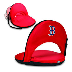 Picnic Time - Boston Red Sox Oniva Seat Recreational Reclining Seat in Red - When you need a recreational reclining seat that's lightweight and portable, the Oniva Seat is for you. It has an adjustable shoulder strap and six adjustable positions for reclining. The seat cover is made of polyester, the frame is steel, and the seat is cushioned with high-density PU foam, which provides hours of comfortable sitting. The bottom of the seat is black so as not to soil easily. The Oniva Seat is great for the beach, the park, gaming and boating.; Decoration: Digital Print