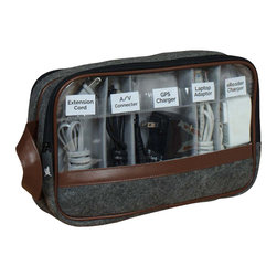 Great Useful Stuff - 2-Sided Cord Pouch, Rustic Modern - Our 2-Sided Cord Pouch painlessly stores and organizes up to 10 chargers, cords and wires tangle-free in an easy-viewing labeled pouch. No more trying to decipher which cord at the bottom of your miscellaneous drawer belongs to which device! Velcro dividers allow you to store more or less as needed, and see through, labeled pockets allow you to easily see and grab what you need when you need it!    Available in new, sleek Grey with Orange trim.