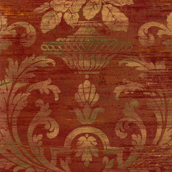 """Patton - Sm30383 Silk And Satin Damask Wallpaper - From Classic Silks by Patton, SM30383 is a silk and satin damask pattern in rust and metallic gold.  This collection of light reflective wallpapers are 20.5""""/52 cm wide and are prepasted and solid vinyl."""