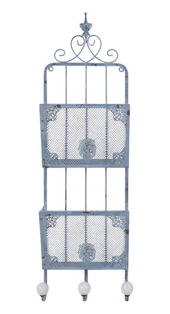 Enchante Accessories Inc - Distressed Wall Mounted Metal  File Holder with Hooks, Distressed Blue - Full of vintage charm and Parisian flair, this metal file holder adds beauty and function to any interior space.  The distressed wall mounted metal file holder with hooks from Parisian Home features durable metal construction with a sturdy wire frame, a distressed finish that gives it an aged, weathered look, and intricate scroll work and details that add texture, dimension, and vintage appeal.