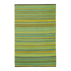 Fab Habitat - Indoor/Outdoor Cancun Rug, Lemon & Apple Green, 6x9 - This festive all-weather rug is woven from straws made of recycled plastic. Washable and mildew resistant, it's ideal for the deck, the playroom, the beach — anywhere you want good looks and easy care. Comes with its own tote bag for convenient transport or storage.