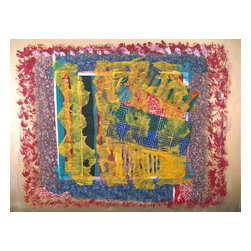 Monopoly, Original, Mixed Media - A mixed media painting composed of acrylic and iridescent gold paint along with layers of fabric paper and fabric fragments .