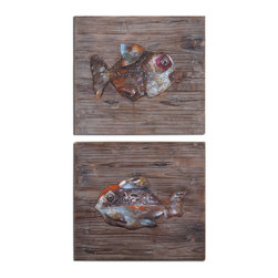 Fresh Fish Metal Wall Art S/2 - Fish Are Made Of Hand Embossed Steel That Is Painted In Multi-color With Rust Distressing And Then Applied To Reclaimed Wood That Has A Gray, Brown And Black Finish.