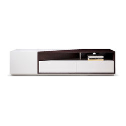 JNM Furniture - Modern Style TV Stand in Two-Tone Finish - The TV117 Modern Base features a genius play of light grey high gloss & brown oak veneer. Two shelves with holes precut for wiring feature a perfect location for any media devices. This TV Stand also features deep drawers with premium soft closing tracks. No Assembly Required
