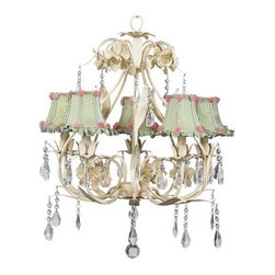 Ballroom Chandelier Bright Idea - Bold, but elegant. This antique ivory 5-arm chandelier features a pear-shaped base lined in leaves. Gorgeous raindrop crystals add a touch of class and femininity to a chandelier that is perfect for a child's room or nursery. The chandelier is dressed in  green check shades with ruffled edges, and is accented in small flowers made of ribbon.