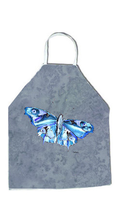 """Caroline's Treasures - Butterfly on Gray Apron - Apron, Bib Style, 27""""H x 31""""W; 100% Ultra Spun Poly, White, braided nylon tie straps, sewn cloth neckband. These bib style aprons are not just for cooking - they are also great for cleaning, gardening, art projects, and other activities, too!"""