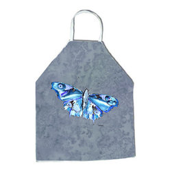 "Caroline's Treasures - Butterfly on Gray Apron - Apron, Bib Style, 27""H x 31""W; 100% Ultra Spun Poly, White, braided nylon tie straps, sewn cloth neckband. These bib style aprons are not just for cooking - they are also great for cleaning, gardening, art projects, and other activities, too!"