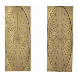 Arteriors - Holbrook Andirons, Set of 2 - Rectangular iron andirons finished in antique brass have been meticulously hand-etched with a pleasing geometric pattern, making them a sculpture in their own right. Decorative use only.
