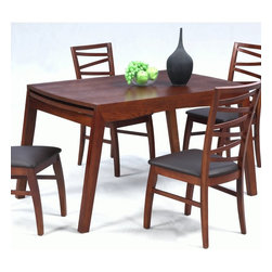 "Chintaly Imports - Cheri Solid Oak Dining Table with Extension - Solid oak expandable dining table. It has one 32"" self-stored leaf. It extends the table from 48""-80"". The top is finished with a dark oak veneer. This table could easily accommodate 8 chairs.; Expandable; one 32"" self-stored leaf; Solid oak; Dark Oak finish; Dimensions:79.53""W x 33.86""D x 29.92""H"