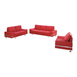 American Eagle Furniture - 7240 Red Bonded Leather Three Piece Sofa Set - The 7240 sofa set has a stylish modern design that will be a great addition for any living room setting. This sofa set comes upholstered in a stunning red bonded leather on the front where your body touches. Carefully chosen match material is used on the back and sides where contact is minimal. High density foam is placed within each piece for added comfort. The sofa set features a unique polished steel leg design that is incorporated into the sides accenting each piece and adding to the overall look. The sofa set shown includes a sofa, loveseat, and chair only. The coffee table shown is NOT included.