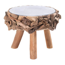 Koolekoo - Drift Wood Stool - Step up the style in any room with this unique stool. Use it as a seat, a foot rest, or to gain a few inches when you need to reach the top shelf. It features three wooden legs and the top is surrounded by beautiful pieces of wood shaped by flowing water.