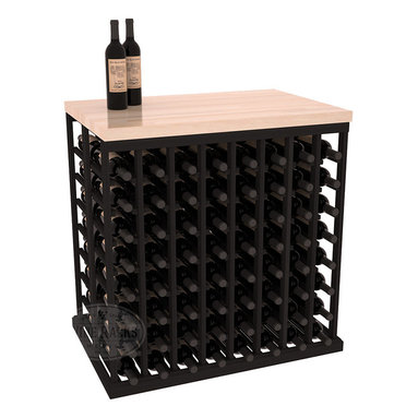 Double Deep Tasting Table Wine Rack Kit + Butcher Block Top in Redwood with Blac - The quintessential wine cellar island; this wooden wine rack is a perfect way to create discrete wine storage in open floor space. Includes a culinary grade Butcher's Block top. With an emphasis on customization, install LEDs to create an intimate wine tasting setting. We build this rack to our industry leading standards and your satisfaction is guaranteed.