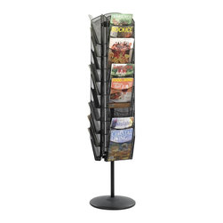 Safco - Onyx Rotating Mesh Magazine Stand in Black - Organizing magazines in lobbies and reception areas can be a challenge. Rotating stands are classic solutions to ragged covers and are a convenience guests and patients will appreciate. See-through stacked mesh holders provide easy visibility and they're compact enough for corner locations. Ideal for reception areas or waiting rooms. Three sided rack. Rotates 360 degrees for total access. 5 lbs. compartmetn capacity. 30 compartments. Mesh plate is 0.7 to 0.75 mm. thick, rolled edge is 4.5 to 5.0 mm in diameter. GREENGUARD Certified. Made from steel mesh. Powder coat finish. Compartment: 9.75 in. W x 7.50 in. H. Top: 19 in. L x 16 in. W. Overall: 16.50 in. W x 16.50 in. D x 66 in. H (32.8 lbs.). Assembly InstructionNo more magazine mayhem with Onyx! Whether it's for your guests in the reception area, waiting room, conference room, meeting areas, trade show booth, the lobby, foyer or entrance way or for your internal employees at a print station, lounge area, lunch or break room, mail room, supply room, classroom, media center, library or even your office, every piece of literature and magazine will have a perfect place to be displayed.