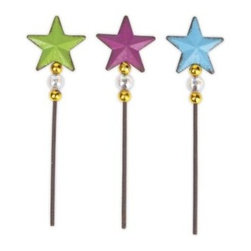 Star Picks Set of 3 - Twinkle twinkle little stars! This set of three star picks was designed by Genevieve Gail and features all-weather paint.