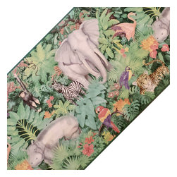 Blue Mountain Wallcoverings - Jungle Wild Animals Prepasted Wall Border Roll - Features:
