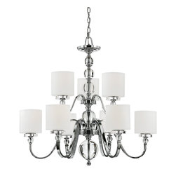 Quoizel - Quoizel Downtown Modern / Contemporary Chandelier X-C9005WD - Two tiers of lights housed in satin toned opal etched glass shades ensure that this Quoizel Lighting chandelier will provide plenty of ample lighting. From the Downtown Collection, it also features a brilliant Polished Chrome finish that compliments the clear crystal-like accents.