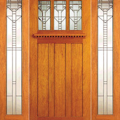 Craftsman Style Mahogany Prehung Door And Two Full Lite