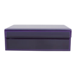 WOLF - Small Glass Jewelry Box, Purple - The Royal collection is a handsome assortment of glass jewelry boxes in rich, saturated hues. Dark purple has been applied to the underside of the glass for a heightened sense of depth, and the bevelled edges are treated in a similar fashion with light purple for contrast.