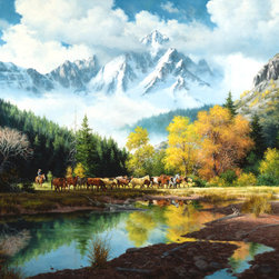 Murals Your Way - Bringing In The Horses Wall Art - Painted by Jack Sorenson, the Bringing In The Horses wall mural from Murals Your Way will add a distinctive touch to any room