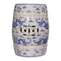 "n/a - 18""H Blue and White Oriental Porcelain Garden Stool with Dragon Design - This traditional Oriental blue and white designed porcelain Garden Stool is glazed in a crackle finish and painted with dragons chasing flaming jewels. Both top and bottom rims feature flaming jewels and clouds painted in a rich cobalt blue. Dragons are symbolic of wisdom and the flaming jewel represents truth. This garden stool resembles an ancient Chinese barrel stool with faux nail heads and carved double happiness piercings. Use one as an extra seat, small table, plant stand, or cocktail table in your home.  It also looks fabulous in the garden."