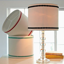 Embroidered Dots Shade - If you like your polka dots to be more subtle, check out this pretty embroidered lamp shade. By keeping the dots to a minimum, you can be sure that you'll never tire of this patterned piece.