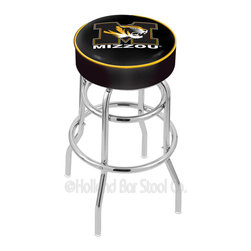 """Holland Bar Stool - Holland Bar Stool L7C1 - 4 Inch Missouri Cushion Seat - L7C1 - 4 Inch Missouri Cushion Seat w/ Double-Ring Chrome Base Swivel Bar Stool belongs to College Collection by Holland Bar Stool Made for the ultimate sports fan, impress your buddies with this knockout from Holland Bar Stool. This L7C1 retro style logo stool has a 4"""" cushion with a tough double-ring base and a chrome finish. Holland Bar Stool uses a detailed screen print process that applies specially formulated epoxy-vinyl ink in numerous stages to produce a sharp, crisp, clear image of your desired logo. You can't find a higher quality logo stool on the market. The structure is triple chrome-plated to ensure a rich, polished finish that will last ages. If you're going to finish your bar or game room, do it right- with a Holland Bar Stool. Barstool (1)"""
