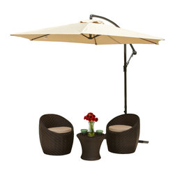 Great Deal Furniture - Acosta Outdoor Cantilever Patio Umbrella, Blue - The Acosta Sun Canopy Umbrella makes a perfect shade solution for you and your guests. Function and form go hand in hand with this durable piece, designed to give you all of the benefits of being outdoors at no cost to comfort. This canopy pivots easily to provide shade from any angle whether it be for your lounging or dining. A must have piece for those summer gatherings.