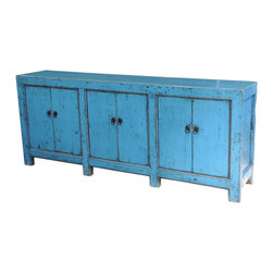 Consigned - Blue Sideboard/Media Cabinet/Buffet - Fantastic vintage sideboard cabinet with ample storage. Perfect to use a media console. Solid elm wood and brass hardware.