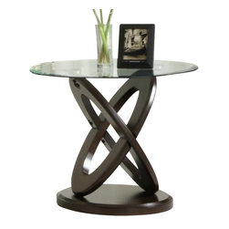 Homelegance - Homelegance Firth II Round Glass End Table in Deep Cherry - Intersecting deep cherry finished wood ovals are set atop rounded black metal bases and serve to support beveled glass tops in the Firth collection. Add a touch of quality and contemporary style to your home with this sleek design which melds glass and wood into a classic contemporary design.