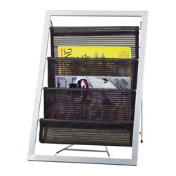 "Adesso - Cafe Magazine Rack - Powder coated steel metal frame with three black mesh storage pouches. 14.5"" Width, 13 Depth, 20"" Height. Minimal assembly."