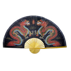 Oriental-Décor - Black Dragons - Power and strength are clearly conveyed through this dueling dragon scene, hand-painted onto the pleasing bamboo frame of this Chinese fan. In handsome colors of red and black, this fan will look simply stunning on your wall.