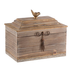 Kathy Kuo Home - Pair Voler Natural Rustic Wide Wood Box with Gold Accent Bird - Natural wood with a hint of gold accented with an iron tassel and a gold bird perched on top.