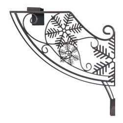 Balsam Hill - Balsam Hill Snowflake Wreath Hanger - Enhance the appeal of your treasured Christmas wreath with the Balsam Hill Snowflake Over-Door Wreath Holder. This over door wreath hanger features a rich dark brown finish to complement its beautiful geometric snowflake design. Constructed of strong, durable iron, this decorative wreath hanger is suitable for most door types and accommodates even the largest of wreaths without the use of drills, screws, or nails. Complete your front door�s holiday look with this stylish wreath door hanger.